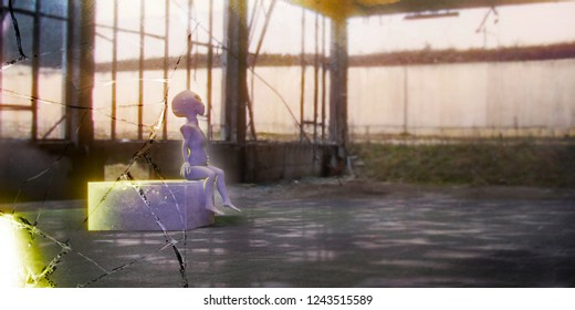 alien creature in a hangar 3d illustration