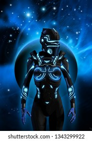 Alien cyborg in a dark sky, in the background a planet, a nebula and many bright stars, 3d illustration