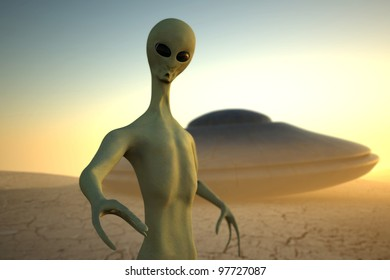 Alien in desert on sunset background with UFO on second plane. Realistic 3D render with focus effect