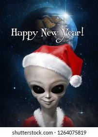 Alien dressed as Santa Claus against the starry sky. Postcard. 3 d illustration.