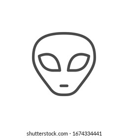 Alien face line outline icon isolated on white. UFO character. Humanoid head symbol. Cosmic extraterrestrial.