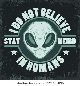 Alien face tee stump, humanoid head, futuristic space invader, paranormal fantasy emblem illustration