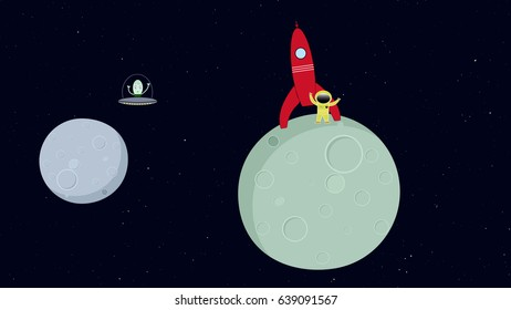 Alien flying in space ship. Astronaut standing on planet. Retro cartoon style with flat design.