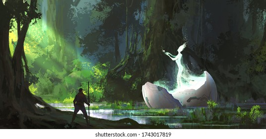 Alien in the forest, digital painting.