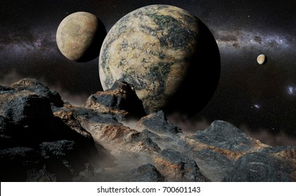 alien landscape with planet, moons and the Milky Way galaxy (3d render, elements of this image are furnished by NASA)