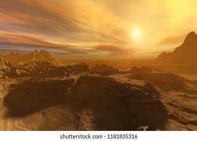 Alien landscape. The stony desert at sunset. 3d rendering