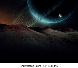 alien landscape, strange planet rising in sci fi spatial landscape, planet with rings and moons (no NASA images used)