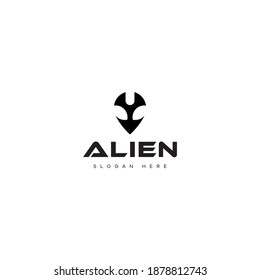 the alien logo in the shape of the head makes this logo modern, elegant, unique, simple.