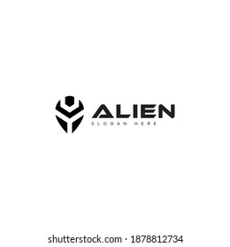 The alien logo is shaped like an alien robot head, making this logo modern, elegant, unique, simple.