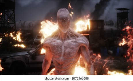 Alien, monster in a burning ruined apocalyptic city. Armageddon view. Realistic fire simulation. 3d rendering