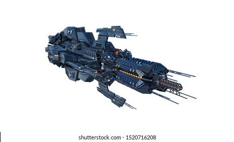 Alien mother ship, UFO spacecraft in flight isolated on white background, front view, 3D rendering