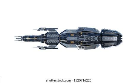 Alien-Mutter-Schiff, UFO-Raumfahrzeug einzeln auf weißem Hintergrund, Seitenansicht, 3D-Darstellung