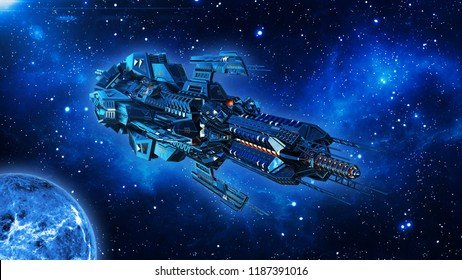 Alien mothership, spaceship in deep space, UFO spacecraft flying in the Universe with planet and stars, front view, 3D rendering