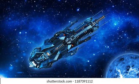 Alien mothership, spaceship in deep space, UFO spacecraft flying in the Universe with planet and stars, bottom view, 3D rendering