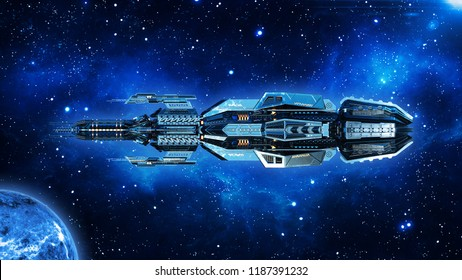Alien mothership, spaceship in deep space, UFO spacecraft flying in the Universe with planet and stars, side view, 3D rendering
