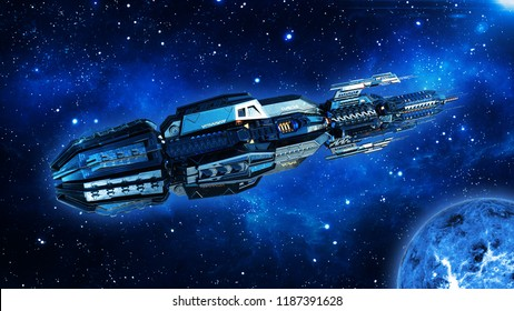 Alien mothership, spaceship in deep space, UFO spacecraft flying in the Universe with planet and stars, top view, 3D rendering