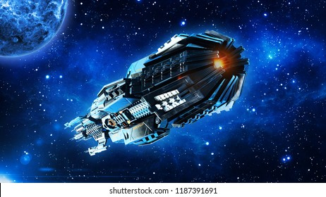 Alien mothership, spaceship in deep space, UFO spacecraft flying in the Universe with planet and stars, rear bottom view, 3D rendering