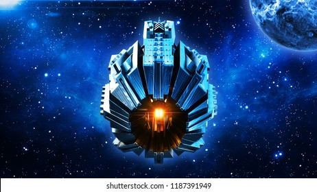 Alien mothership, spaceship in deep space, UFO spacecraft flying in the Universe with planet and stars, back view, 3D rendering