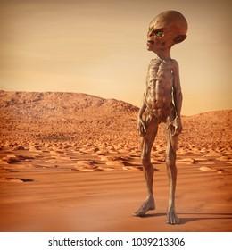 Alien on the Planet Mars, 3D Illustration