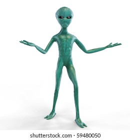 Alien on the white background