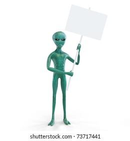 alien with  placard on the white background