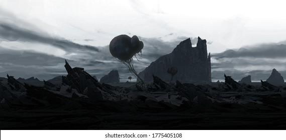 Alien planet. Futuristic scenery. Science fiction landscape. 2d illustration.