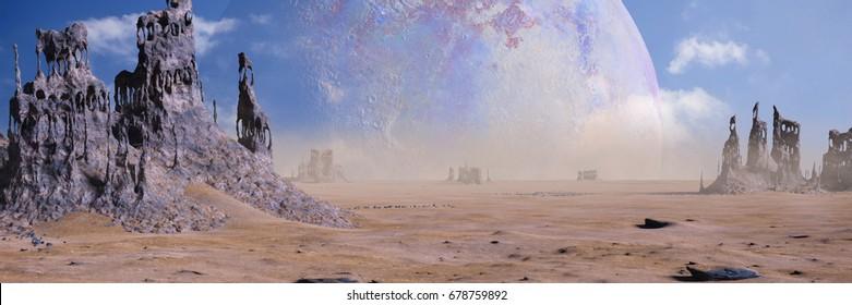 alien planet landscape with strange rock formations (3d illustration banner)