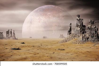 alien planet landscape with strange rock formations (3d render)