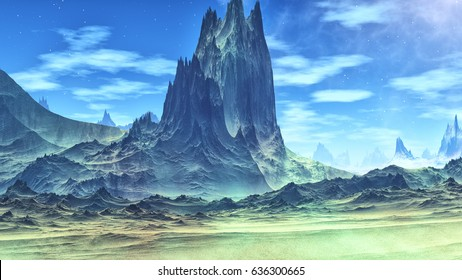Alien Planet. Landscape of stranger planet. Rocks. 3D illustration
