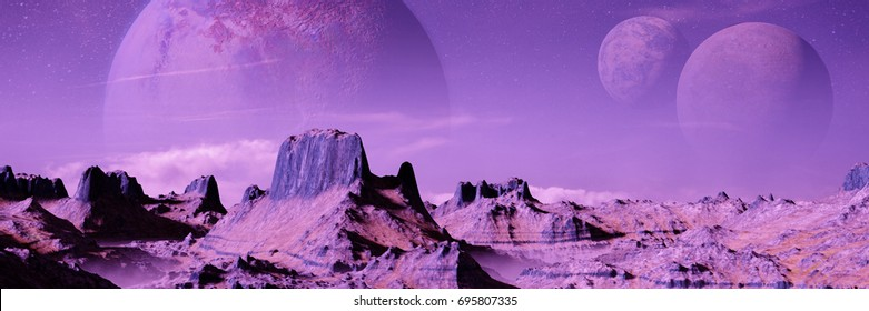 alien planet landscape with three moons (3d render banner)