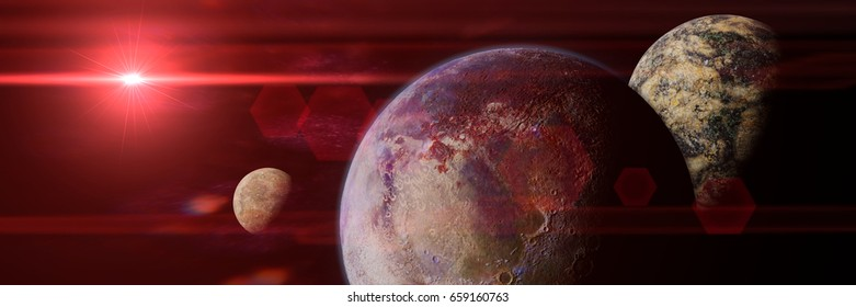 alien planet with moons lit by a red sun (3d illustration banner, elements of this image are furnished by NASA)