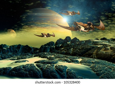 Alien Planet with moons and space ships