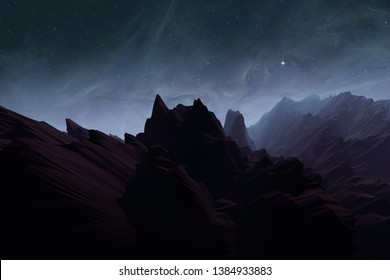 alien planet with rough terrain, mountain landscape with stars on night sky, illustration with 3d elements