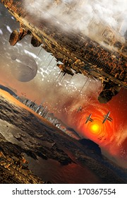 Alien Planet and Spaceships