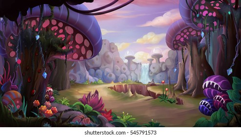Alien Planet Surface Environment. Video Game's Digital CG Artwork, Concept Illustration, Realistic Cartoon Style Background