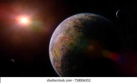 alien planets orbiting a distant star (3d illustration, elements of this image are furnished by NASA)