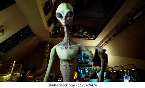 Alien presses the keys on sci-fi hologaphic screen. 3D Rendering