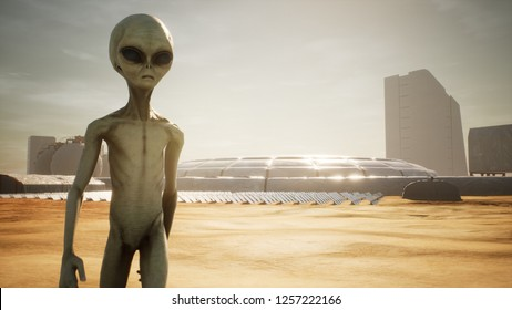 Alien returns to base after inspecting solar panels. Super realistic concept. 3D Rendering
