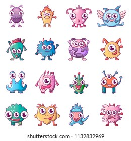 Alien scary monster icons set. Cartoon illustration of 16 alien scary monster icons for web