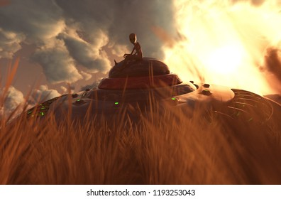 An alien sitting on the UFO saucer that crashing on grassland,3D illustration concept background