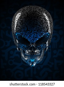 Alien skull covered with unknown writing