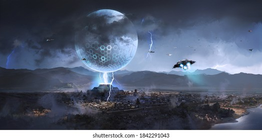 Alien spacecraft appeared over ancient cities,Science fiction illustration,3D rendering.