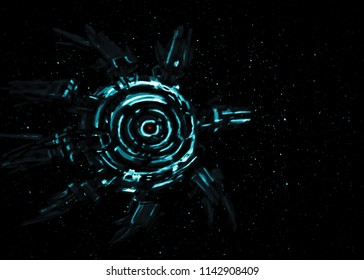 Alien spaceship against the background of stars. Science fiction genre. Invasion of aliens.