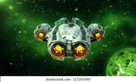 Alien spaceship in deep space with planet and stars in the background, UFO spacecraft flying in the Universe, back view, 3D rendering
