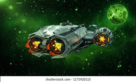Alien spaceship in deep space with planet and stars in the background, UFO spacecraft flying in the Universe, rear view, 3D rendering