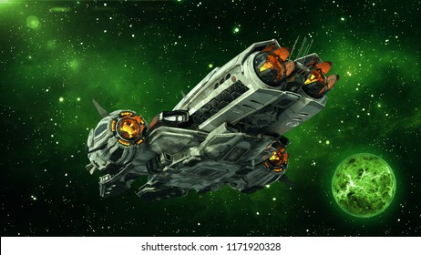 Alien spaceship in deep space with planet and stars in the background, UFO spacecraft flying in the Universe, rear bottom view, 3D rendering