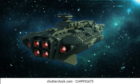 Alien spaceship in deep space, spacecraft flying in the Universe with stars in the background, UFO rear view, 3D rendering
