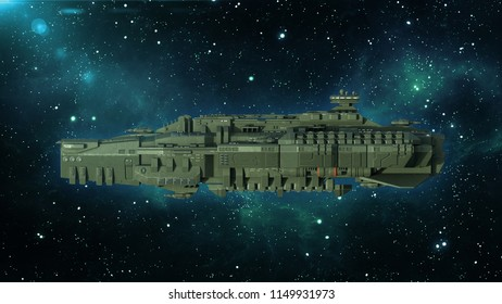 Alien spaceship in deep space, spacecraft flying in the Universe with stars in the background, UFO side view, 3D rendering