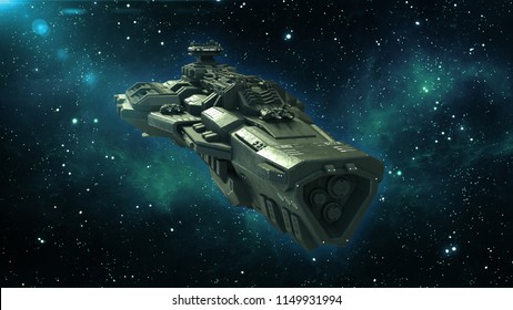 Alien spaceship in deep space, spacecraft flying in the Universe with stars in the background, UFO front view, 3D rendering