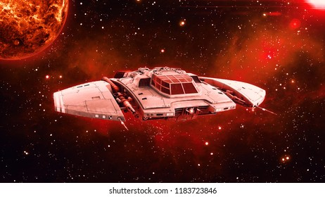 Alien spaceship in deep space, UFO spacecraft flying in the Universe with planet and stars in the background, front view, 3D rendering